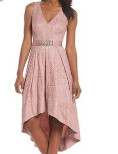 NWT Eliza J Womens Blush Belted High Low Dress